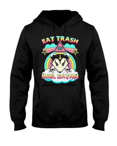 Eat Trash Hail Satan Raccoon Pentagram Satanic