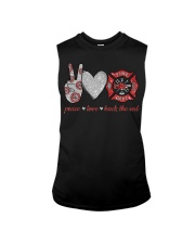 Peace love back the red Firefighter Lover T-Shirt Sleeveless Tee thumbnail