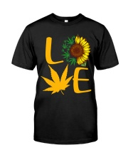 Love Sunflower And Cannabis Marijuana Weed Lover Premium Fit Mens Tee tile