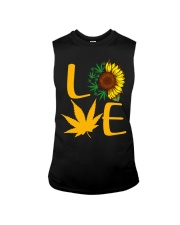 Love Sunflower And Cannabis Marijuana Weed Lover Sleeveless Tee tile
