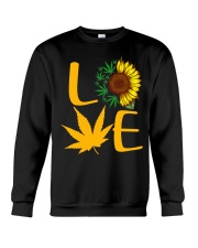 Love Sunflower And Cannabis Marijuana Weed Lover Crewneck Sweatshirt thumbnail