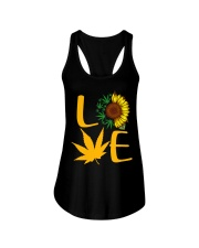 Love Sunflower And Cannabis Marijuana Weed Lover Ladies Flowy Tank tile