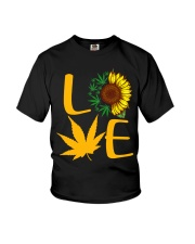 Love Sunflower And Cannabis Marijuana Weed Lover Youth T-Shirt thumbnail