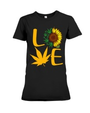 Love Sunflower And Cannabis Marijuana Weed Lover Premium Fit Ladies Tee tile