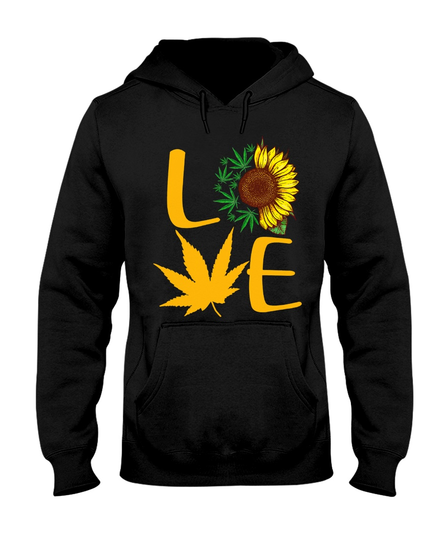 Love Sunflower And Cannabis Marijuana Weed Lover Hooded Sweatshirt