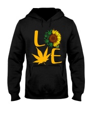 Love Sunflower And Cannabis Marijuana Weed Lover Hooded Sweatshirt front