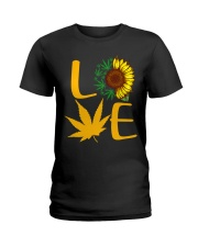 Love Sunflower And Cannabis Marijuana Weed Lover Ladies T-Shirt thumbnail