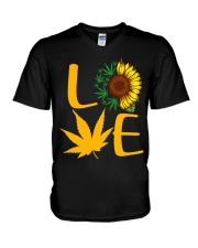 Love Sunflower And Cannabis Marijuana Weed Lover V-Neck T-Shirt thumbnail