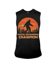 Social Distancing Champion Funny Bigfoot Toilet Sleeveless Tee tile