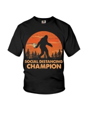 Social Distancing Champion Funny Bigfoot Toilet Youth T-Shirt tile