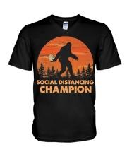 Social Distancing Champion Funny Bigfoot Toilet V-Neck T-Shirt thumbnail