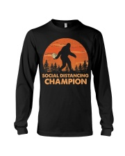Social Distancing Champion Funny Bigfoot Toilet Long Sleeve Tee tile