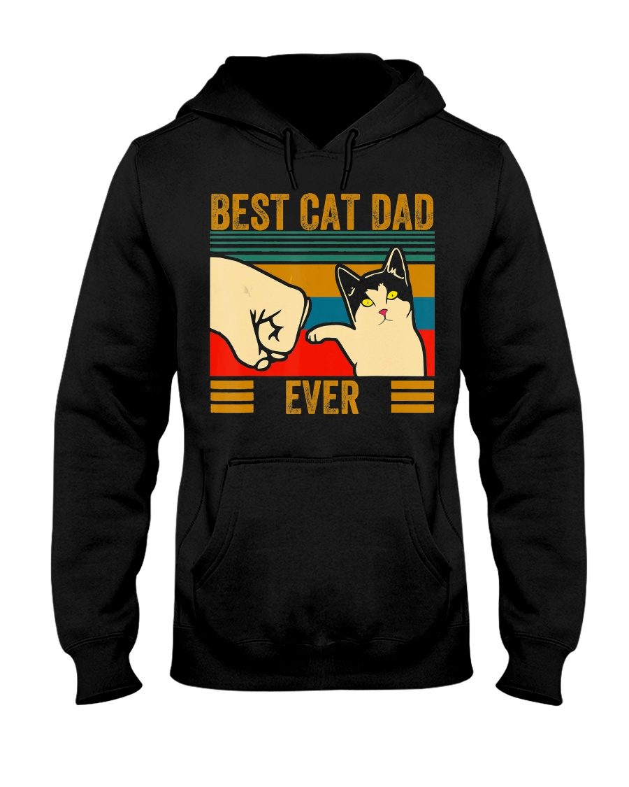 Vintage Best Cat Dad Ever Men Bump Fit Fathers Hooded Sweatshirt