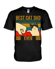 Vintage Best Cat Dad Ever Men Bump Fit Fathers V-Neck T-Shirt thumbnail