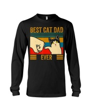 Vintage Best Cat Dad Ever Men Bump Fit Fathers Long Sleeve Tee thumbnail