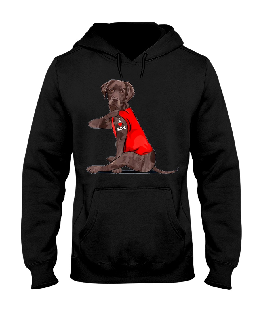 Chocolate Lab Labrador Mom Tattoo Funny Mama Hooded Sweatshirt