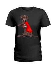 Chocolate Lab Labrador Mom Tattoo Funny Mama Ladies T-Shirt thumbnail