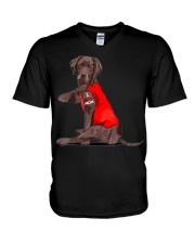 Chocolate Lab Labrador Mom Tattoo Funny Mama V-Neck T-Shirt thumbnail
