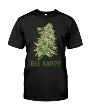 Bee Happy Cannabis Weed Marijuana Funny 420 Day Classic T-Shirt thumbnail