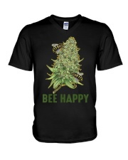 Bee Happy Cannabis Weed Marijuana Funny 420 Day V-Neck T-Shirt thumbnail