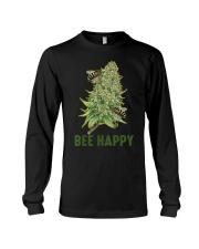 Bee Happy Cannabis Weed Marijuana Funny 420 Day Long Sleeve Tee thumbnail