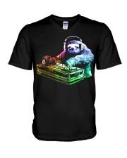 DJ Sloth by ROBOTFACE T-Shirt V-Neck T-Shirt thumbnail