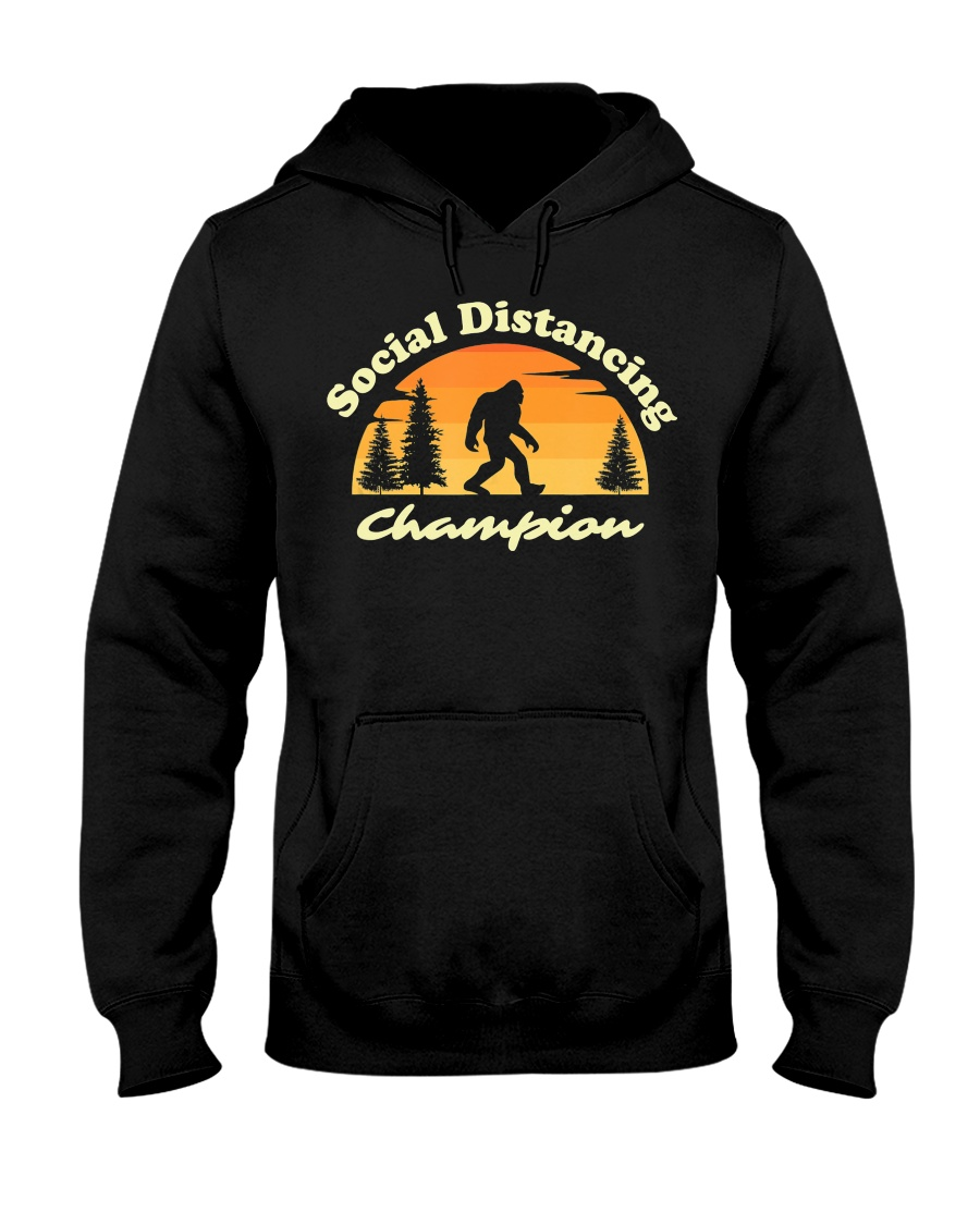 Social Distancing Champion Vintage Sasquatch Hooded Sweatshirt