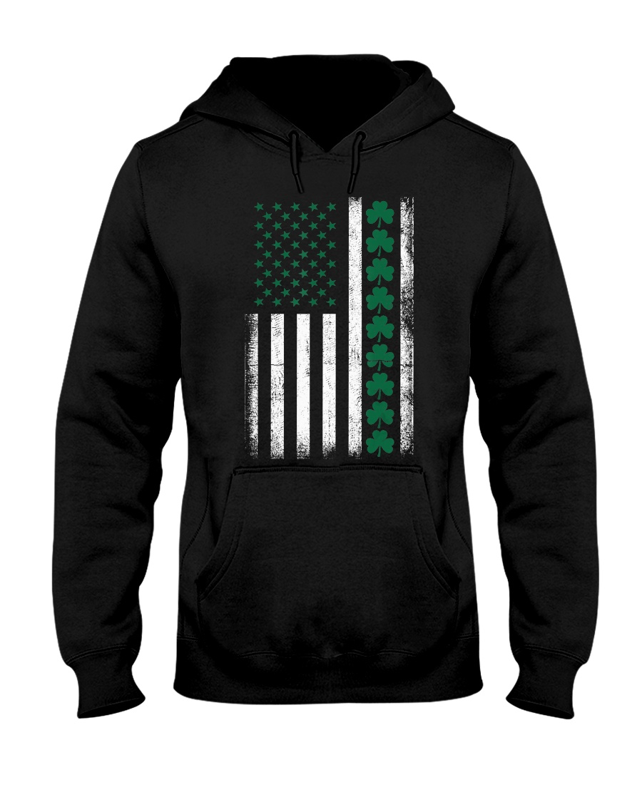 St Patrick's Day IRISH AMERICAN FLAG Vintage Hooded Sweatshirt