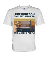 I Like Bourbon And My Smoker And Maybe 3 People V-Neck T-Shirt thumbnail