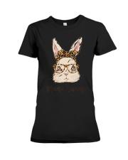 Mama Bunny Easter Rabbit Leopard Bandana Glasses Premium Fit Ladies Tee thumbnail