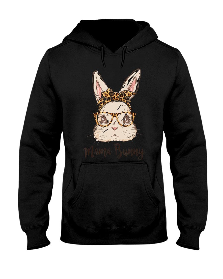Mama Bunny Easter Rabbit Leopard Bandana Glasses Hooded Sweatshirt