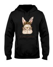 Mama Bunny Easter Rabbit Leopard Bandana Glasses Hooded Sweatshirt front