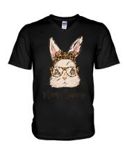 Mama Bunny Easter Rabbit Leopard Bandana Glasses V-Neck T-Shirt thumbnail