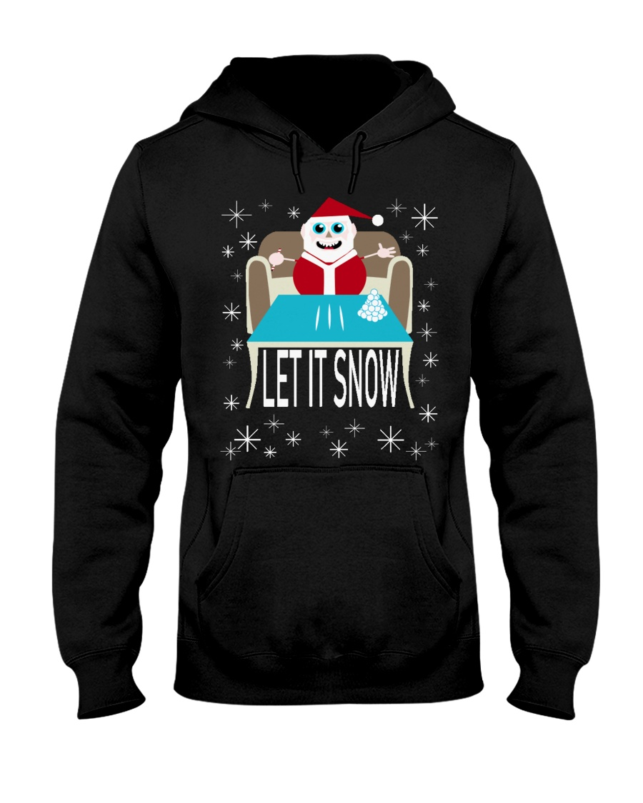 Let It Snow Party Santa Christmas Tacky Hoodie Hooded Sweatshirt