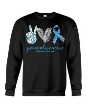 Peace Love Cure Diabetes Awareness T-Shirt Crewneck Sweatshirt thumbnail