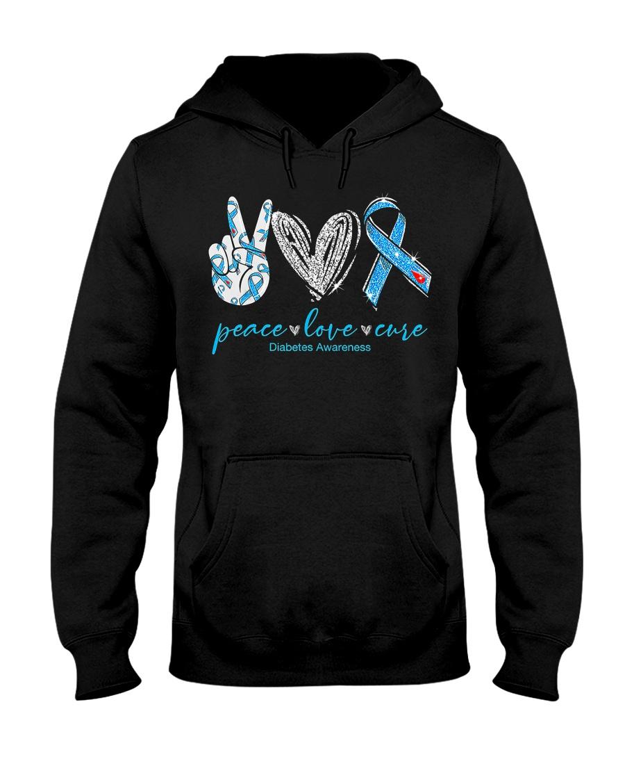 Peace Love Cure Diabetes Awareness T-Shirt Hooded Sweatshirt