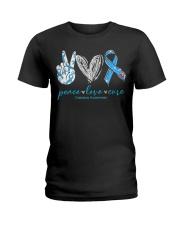 Peace Love Cure Diabetes Awareness T-Shirt Ladies T-Shirt thumbnail
