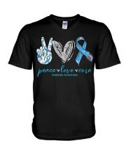 Peace Love Cure Diabetes Awareness T-Shirt V-Neck T-Shirt thumbnail