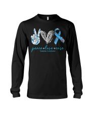 Peace Love Cure Diabetes Awareness T-Shirt Long Sleeve Tee thumbnail