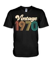 50th Birthday Gift - Vintage 1970 - Retro Bday 50 V-Neck T-Shirt thumbnail