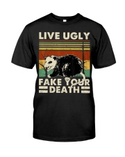 Live Ugly Fake Your Death Opossum Funny Ugly Cat Classic T-Shirt thumbnail
