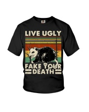 Live Ugly Fake Your Death Opossum Funny Ugly Cat Youth T-Shirt thumbnail