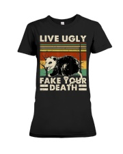 Live Ugly Fake Your Death Opossum Funny Ugly Cat Premium Fit Ladies Tee thumbnail