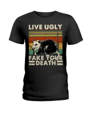 Live Ugly Fake Your Death Opossum Funny Ugly Cat Ladies T-Shirt thumbnail