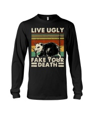 Live Ugly Fake Your Death Opossum Funny Ugly Cat Long Sleeve Tee thumbnail