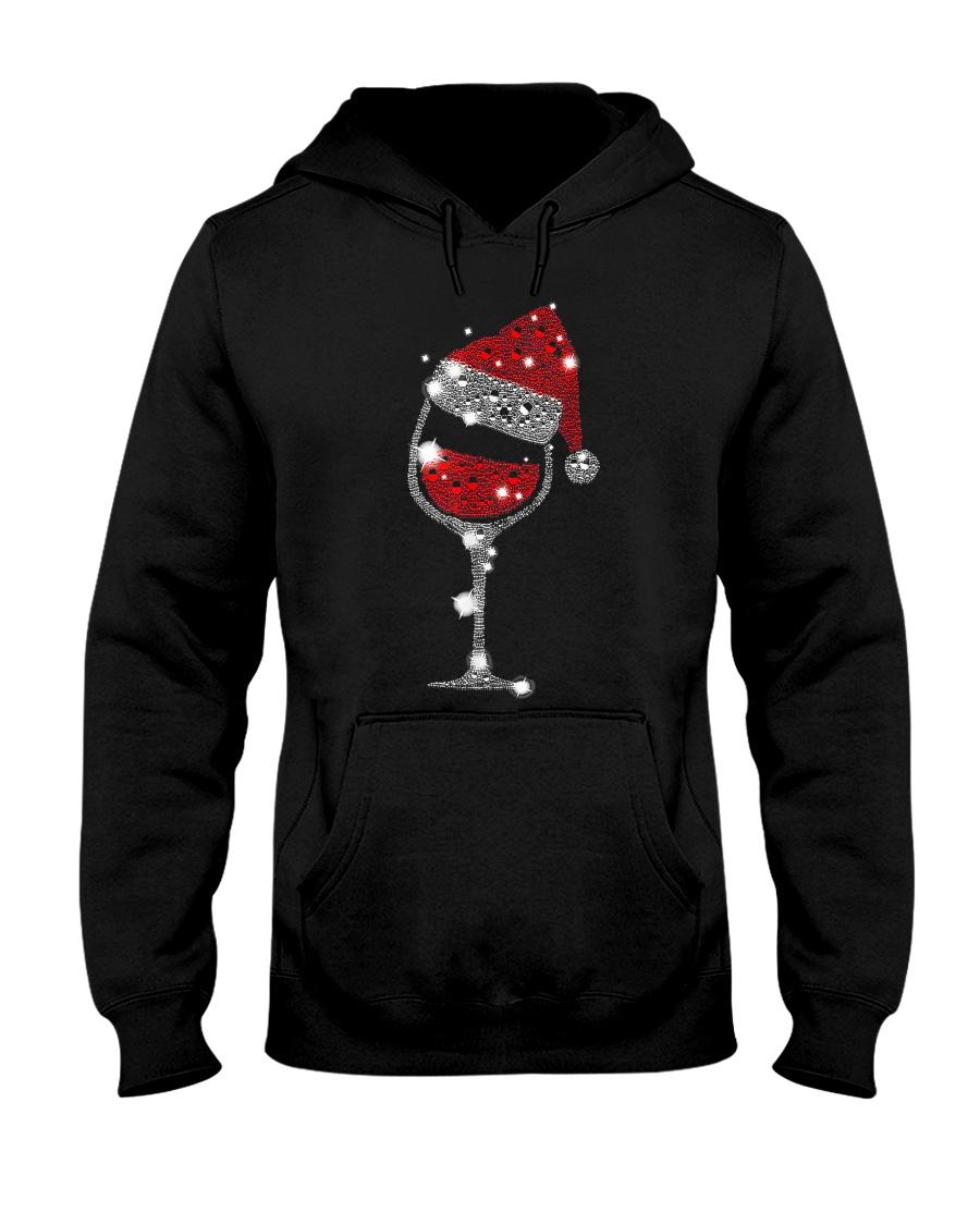 Red Wine Glass Christmas Tee Funny Santa Hat Xmas Hooded Sweatshirt