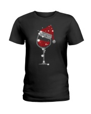 Red Wine Glass Christmas Tee Funny Santa Hat Xmas Ladies T-Shirt thumbnail