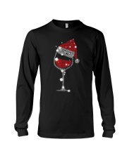 Red Wine Glass Christmas Tee Funny Santa Hat Xmas Long Sleeve Tee thumbnail