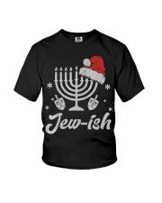 Christmas Ugly Hanukkah Sweater menorah Santa hat Youth T-Shirt thumbnail