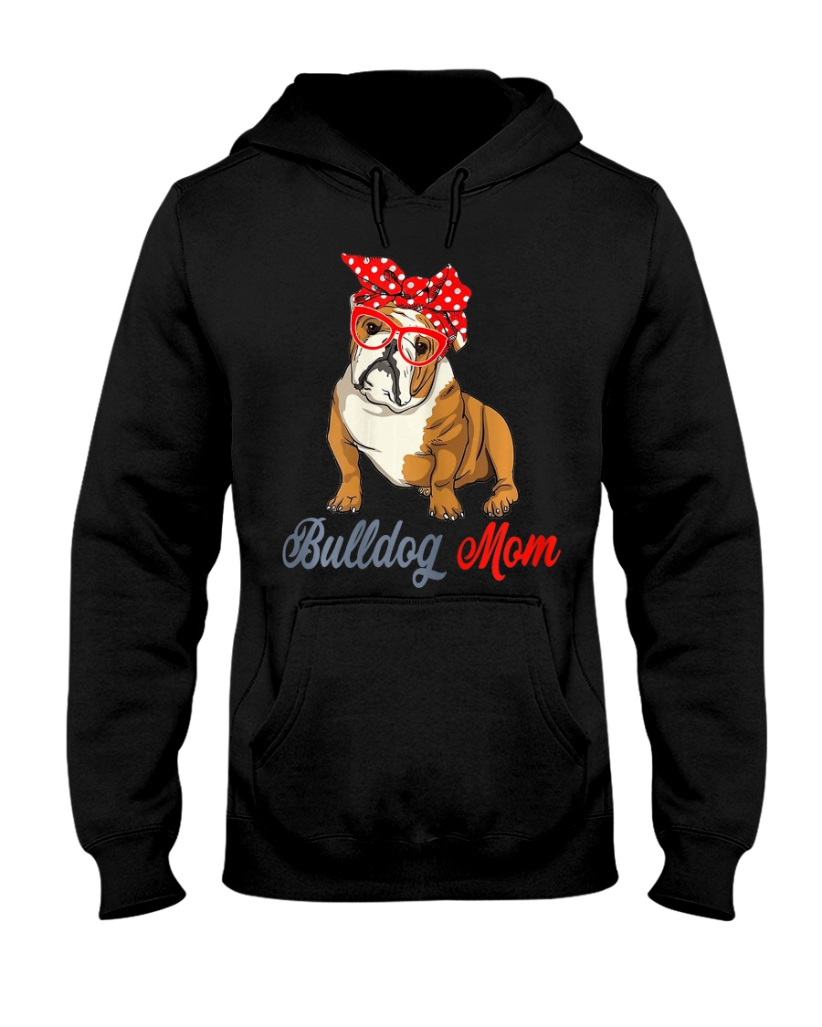 Womens Bulldog Mom Cute Bulldog With Sunglasses Hooded Sweatshirt